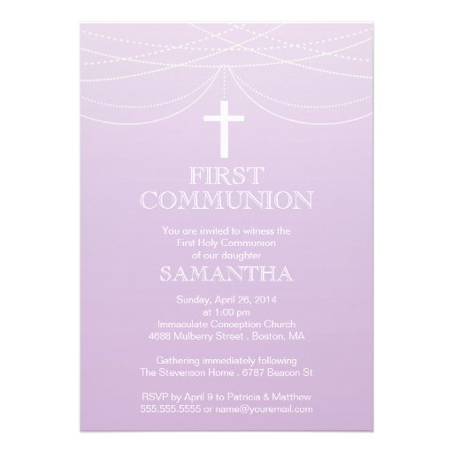 Modern Purple Ombre Garland Cross Communion Personalized Announcements