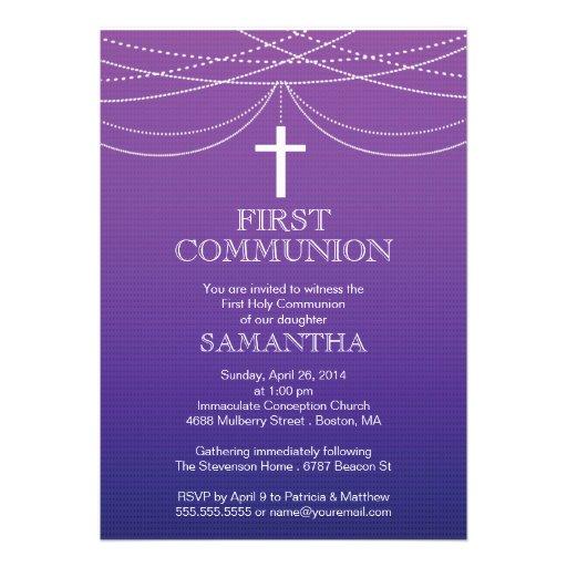 Modern Purple Ombre Garland Cross Communion Invite