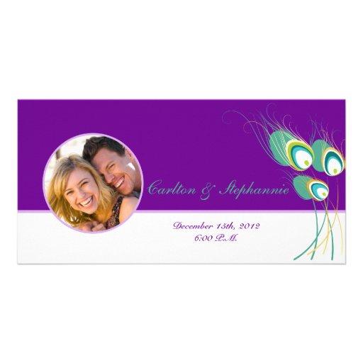 Modern Purple Peacock Wedding Photo Announcement Photo Card Template