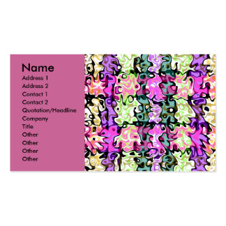 Modern purple pink green psychedelic swirls business cards