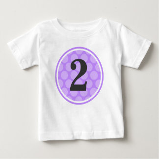 Modern Purple Polka Dot Second Birthday Girl Baby T-Shirt
