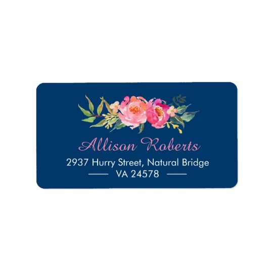 Modern Purple Red Pink Botanical Floral Navy Blue Address Label
