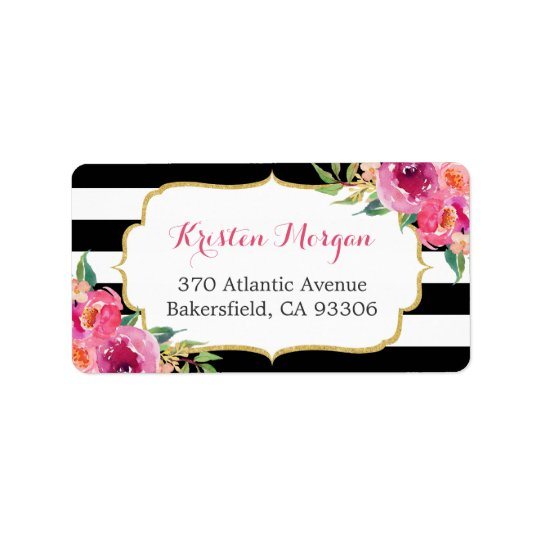 Modern Purple Red Pink Fuchsia Floral BW Stripes Label