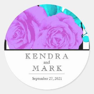 Modern Purple Rose Bridal Round Sticker