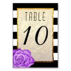 Modern Purple Rose Faux Gold Foil Striped Wedding Card