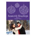 Modern Purple Snowflake Holiday Photo Card Custom Invites