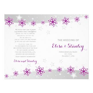 Modern purple snowflakes & stars wedding program flyer