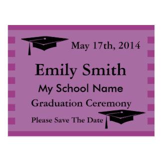 Modern Purple Stripe Graduation Save The Date Postcard