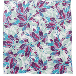 Modern purple turquoise fall floral pattern shower curtain