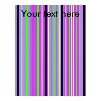 Modern purple violet and green stripes custom flyer