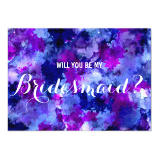 Modern purple watercolor Will you be my Bridesmaid Card