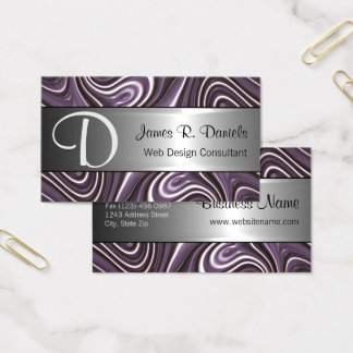Modern Purple White 3D Liquid Swirls Pattern Business Card