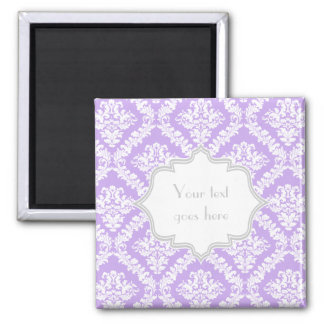 Modern purple, white damask pattern monogram magnet