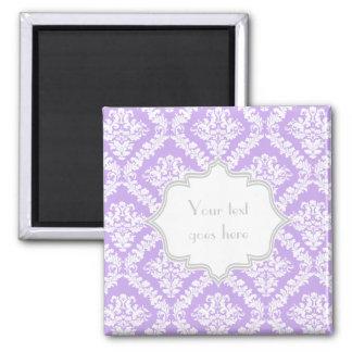 Modern purple, white damask pattern monogram square magnet