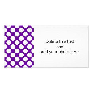 Modern Purple White Polka Dots Pattern Picture Card