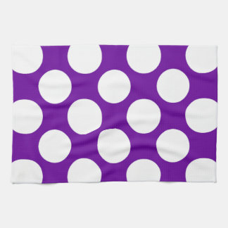 Modern Purple White Polka Dots Pattern Tea Towel