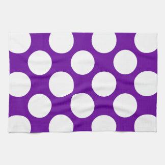 Modern Purple White Polka Dots Pattern Tea Towel