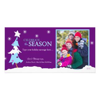 Modern Purple Xmas Christmas Photo Card 8x4