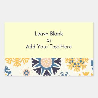 Modern Quirky Yellow Blue Snowflake Holidays Rectangular Sticker