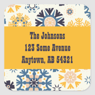 Modern Quirky Yellow & Blue Snowflakes Gift Tag Square Sticker
