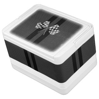 Modern Racing Flags Stripes in Carbon Fiber Style Igloo Cool Box