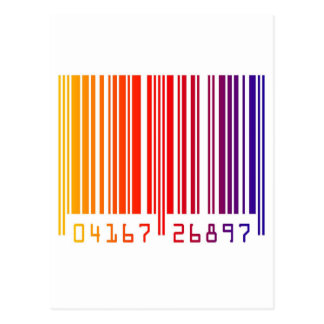 Modern Rainbow Barcode Post Cards