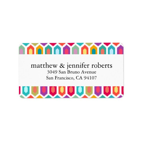 Modern Rainbow Colourful Geometric Ikat Label