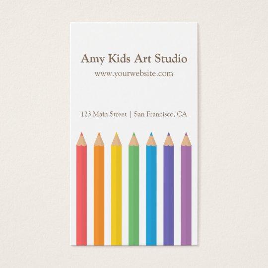 Modern Rainbow Colouring Pencils Art Supplies Business Card