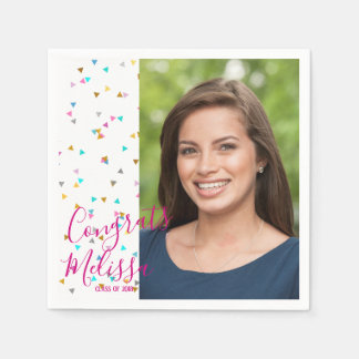 Modern Rainbow Confetti Graduation Photo Napkins Disposable Napkin