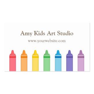 Modern Rainbow Crayons Art Supplies Studio Business Card