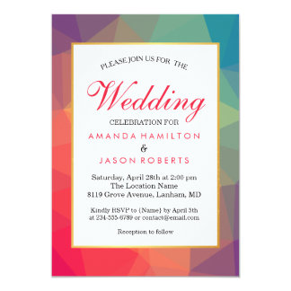 Modern Rainbow Polygonal Geometric Wedding Invite