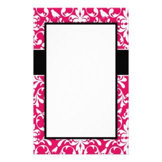 modern raspberry white bird damask design personalized stationery