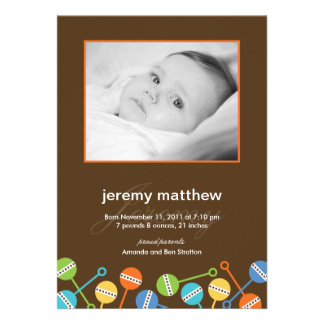 Modern Rattles Baby Boy Birth Announcement Personalized Announcements