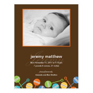 Modern Rattles Baby Boy Birth Announcement Postcard