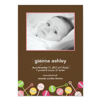 Modern Rattles Baby Girl Birth Announcement