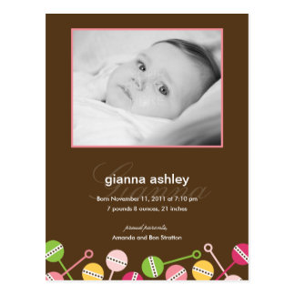 Modern Rattles Baby Girl Birth Announcement Post Card