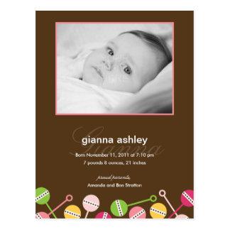 Modern Rattles Baby Girl Birth Announcement Postcard