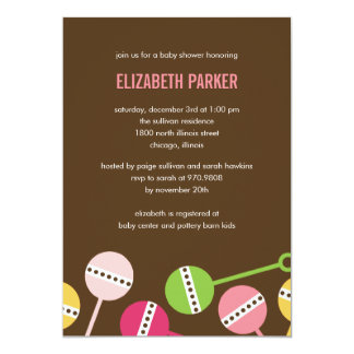 Modern Rattles Girl Baby Shower Invitation
