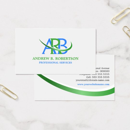 Modern Re-sizeable Swoosh Monogram Business Card