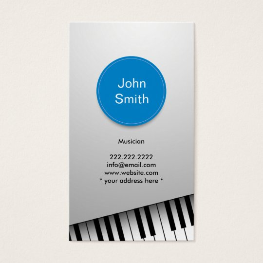 Modern Realistic Piano Musician Business Card