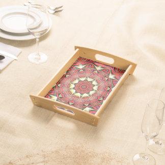 Modern Red Abstract Pattern Serving Tray