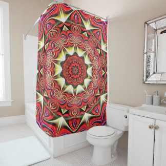 Modern Red Abstract Pattern Shower Curtain