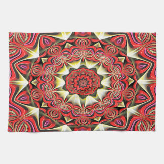 Modern Red Abstract Pattern Tea Towel