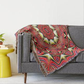 Modern Red Abstract Pattern Throw Blanket