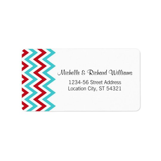 Modern Red and Aqua Chevron & Lovebirds Wedding