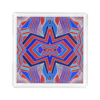 Modern Red and Blue Geometric Acrylic Tray