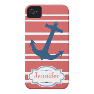 Modern Red and Blue Nautical Anchor iPhone Case