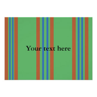 Modern red and blue stripes on green custom invites