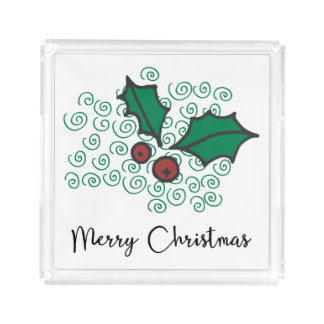 Modern Red and Green Christmas Holly Design Acrylic Tray