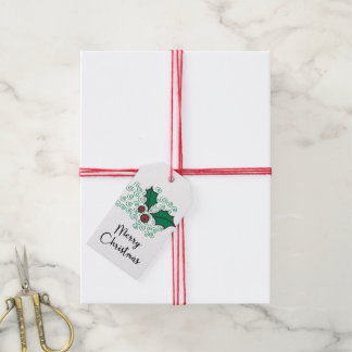 Modern Red and Green Christmas Holly Design Gift Tags